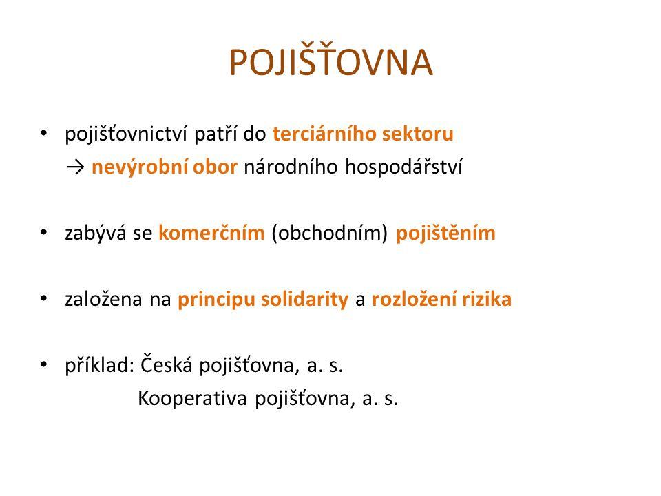 POJIŠŤOVNA pojišťovnictví patří do terciárního sektoru → nevýrobní obor národního hospodářství zabývá se komerčním (obchodním) pojištěním založena na principu solidarity a rozložení rizika příklad: Česká pojišťovna, a.