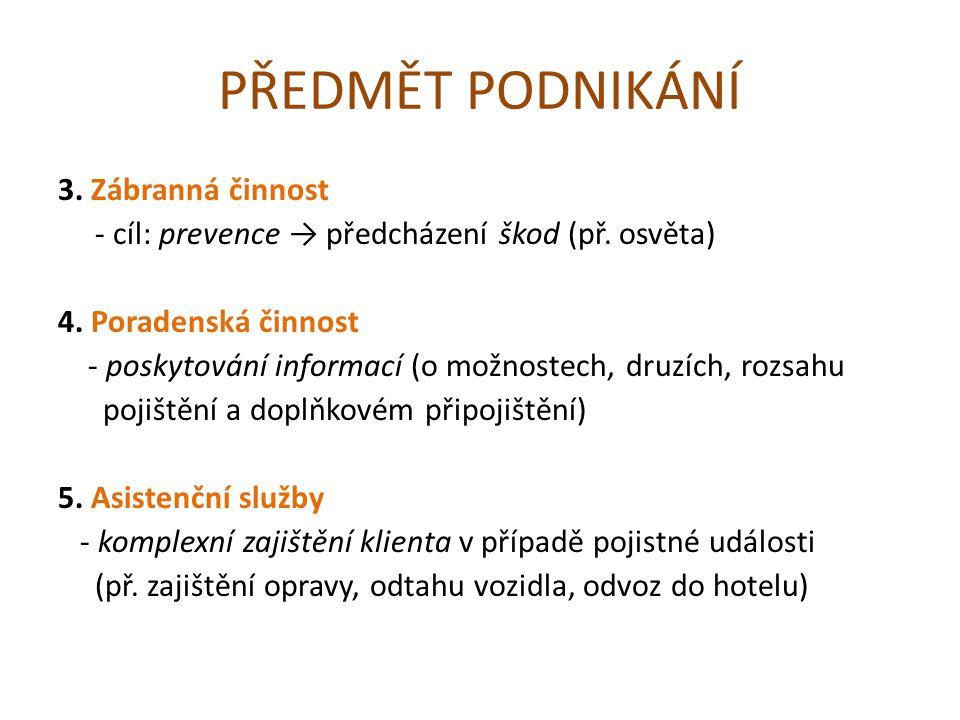 PŘEDMĚT PODNIKÁNÍ 3. Zábranná činnost - cíl: prevence → předcházení škod (př.