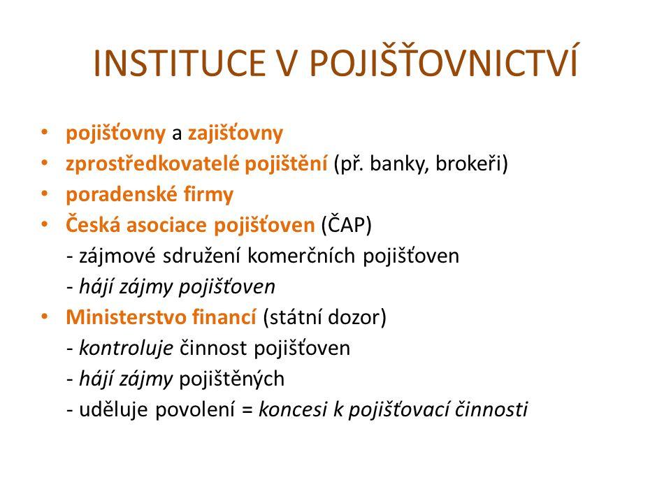 INSTITUCE V POJIŠŤOVNICTVÍ pojišťovny a zajišťovny zprostředkovatelé pojištění (př.
