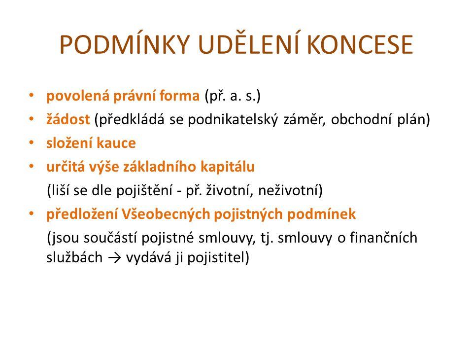 PODMÍNKY UDĚLENÍ KONCESE povolená právní forma (př.