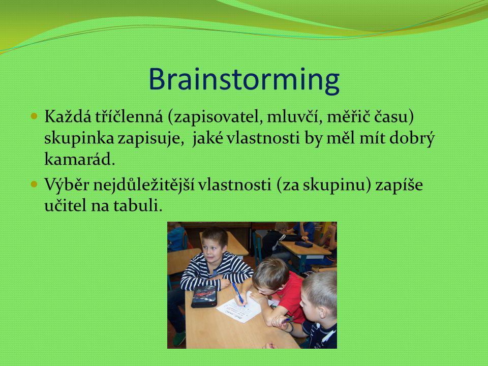 Brainstorming Každá tříčlenná (zapisovatel, mluvčí, měřič času) skupinka zapisuje, jaké vlastnosti by měl mít dobrý kamarád. Výběr nejdůležitější vlas