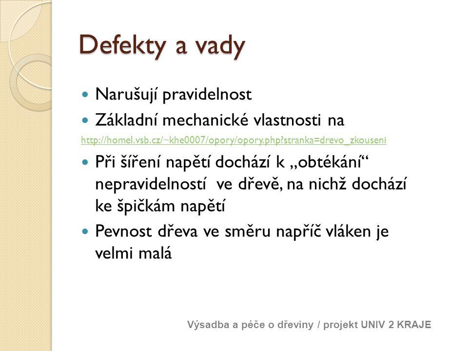Defekty a vady Narušují pravidelnost Základní mechanické vlastnosti na http://homel.vsb.cz/~khe0007/opory/opory.php?stranka=drevo_zkouseni Při šíření