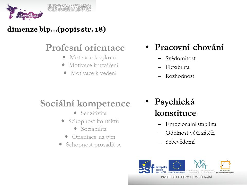 dimenze bip…(popis str. 18) Profesní orientace Motivace k výkonu Motivace k utváření Motivace k vedení Sociální kompetence Senzitivita Schopnost konta