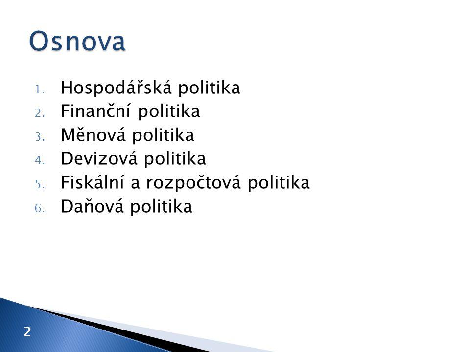 1. Hospodářská politika 2. Finanční politika 3. Měnová politika 4.