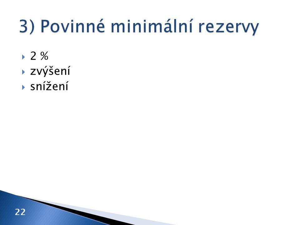  2 %  zvýšení  snížení 22