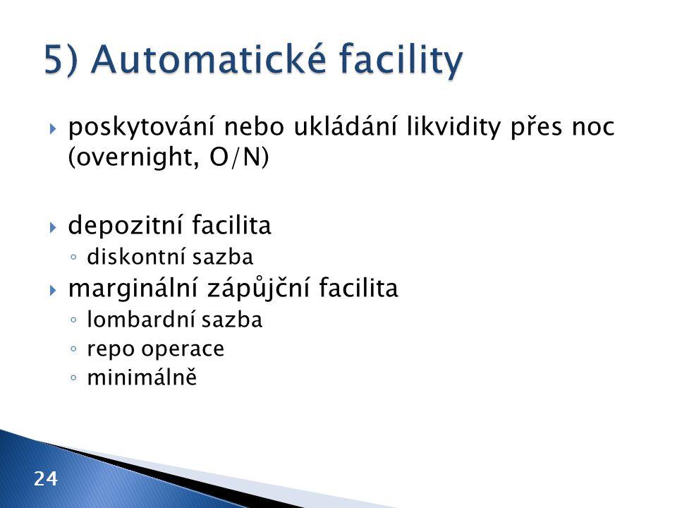  poskytování nebo ukládání likvidity přes noc (overnight, O/N)  depozitní facilita ◦ diskontní sazba  marginální zápůjční facilita ◦ lombardní sazba ◦ repo operace ◦ minimálně 24