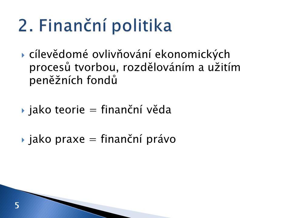  cílevědomé ovlivňování ekonomických procesů tvorbou, rozdělováním a užitím peněžních fondů  jako teorie = finanční věda  jako praxe = finanční právo 5