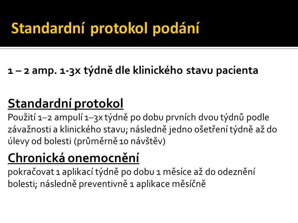 1 – 2 amp. 1-3x týdně dle klinického stavu pacienta Standardní protokol Použití 1–2 ampulí 1–3x týdně po dobu prvních dvou týdnů podle závažnosti a kl