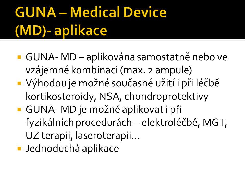  GUNA- MD – aplikována samostatně nebo ve vzájemné kombinaci (max. 2 ampule)  Výhodou je možné současné užití i při léčbě kortikosteroidy, NSA, chon