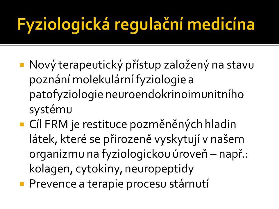 Nový terapeutický přístup založený na stavu poznání molekulární fyziologie a patofyziologie neuroendokrinoimunitního systému  Cíl FRM je restituce pozměněných hladin látek, které se přirozeně vyskytují v našem organizmu na fyziologickou úroveň – např.: kolagen, cytokiny, neuropeptidy  Prevence a terapie procesu stárnutí