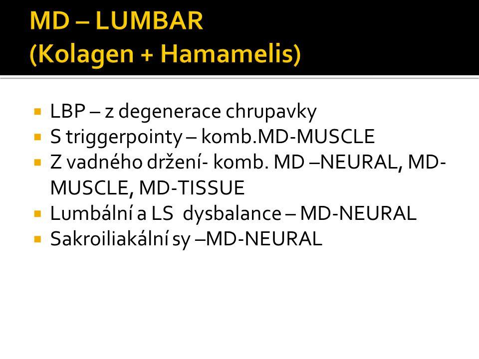  LBP – z degenerace chrupavky  S triggerpointy – komb.MD-MUSCLE  Z vadného držení- komb. MD –NEURAL, MD- MUSCLE, MD-TISSUE  Lumbální a LS dysbalan