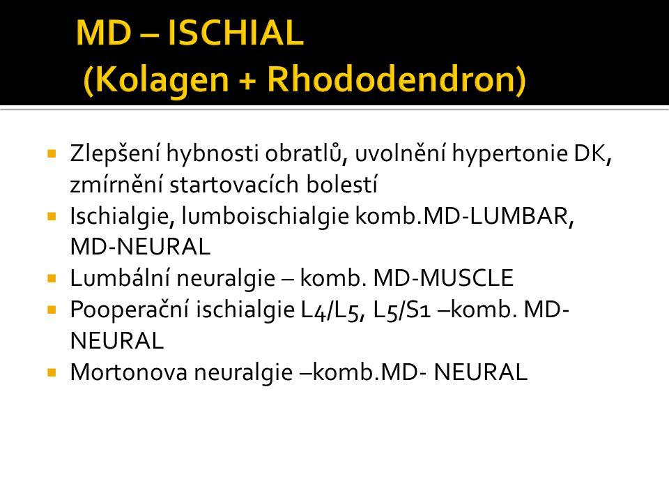  Zlepšení hybnosti obratlů, uvolnění hypertonie DK, zmírnění startovacích bolestí  Ischialgie, lumboischialgie komb.MD-LUMBAR, MD-NEURAL  Lumbální neuralgie – komb.