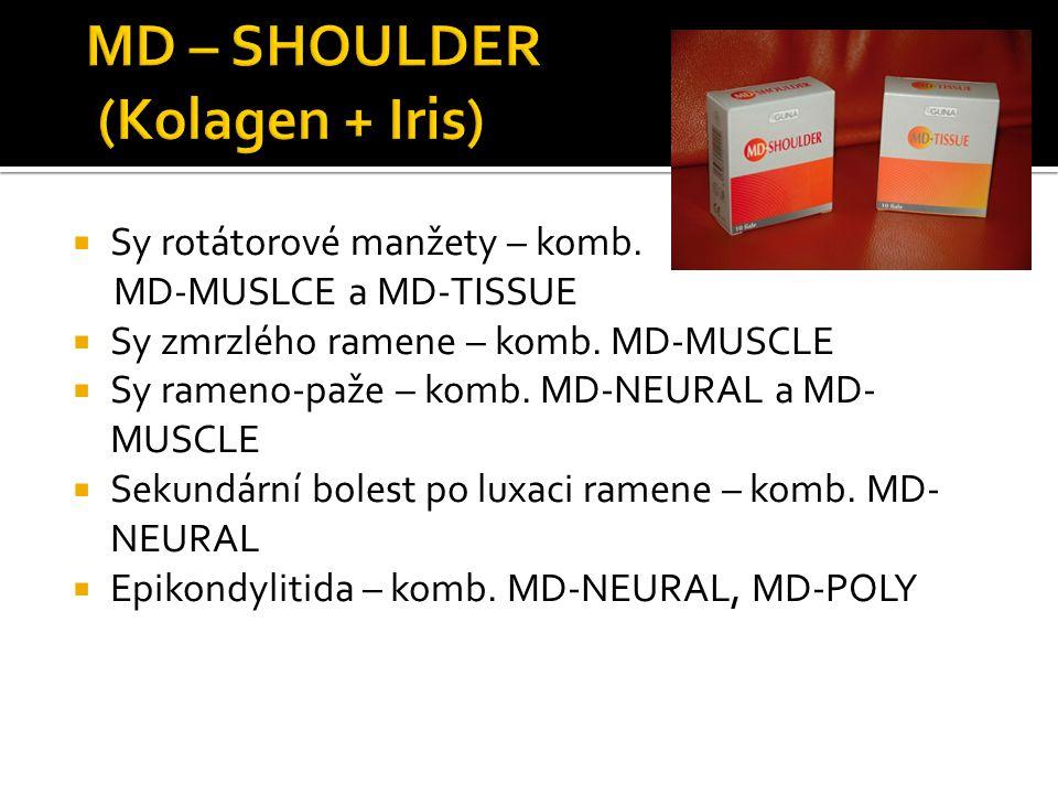  Sy rotátorové manžety – komb. MD-MUSLCE a MD-TISSUE  Sy zmrzlého ramene – komb. MD-MUSCLE  Sy rameno-paže – komb. MD-NEURAL a MD- MUSCLE  Sekundá