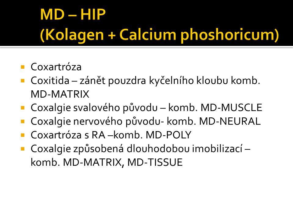  Coxartróza  Coxitida – zánět pouzdra kyčelního kloubu komb. MD-MATRIX  Coxalgie svalového původu – komb. MD-MUSCLE  Coxalgie nervového původu- ko