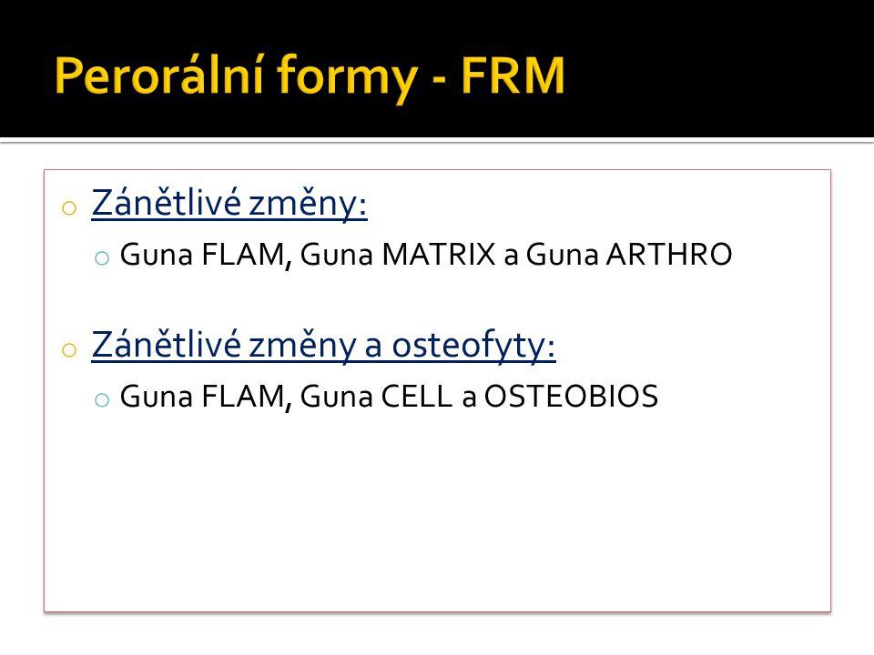 o Zánětlivé změny: o Guna FLAM, Guna MATRIX a Guna ARTHRO o Zánětlivé změny a osteofyty: o Guna FLAM, Guna CELL a OSTEOBIOS o Zánětlivé změny: o Guna