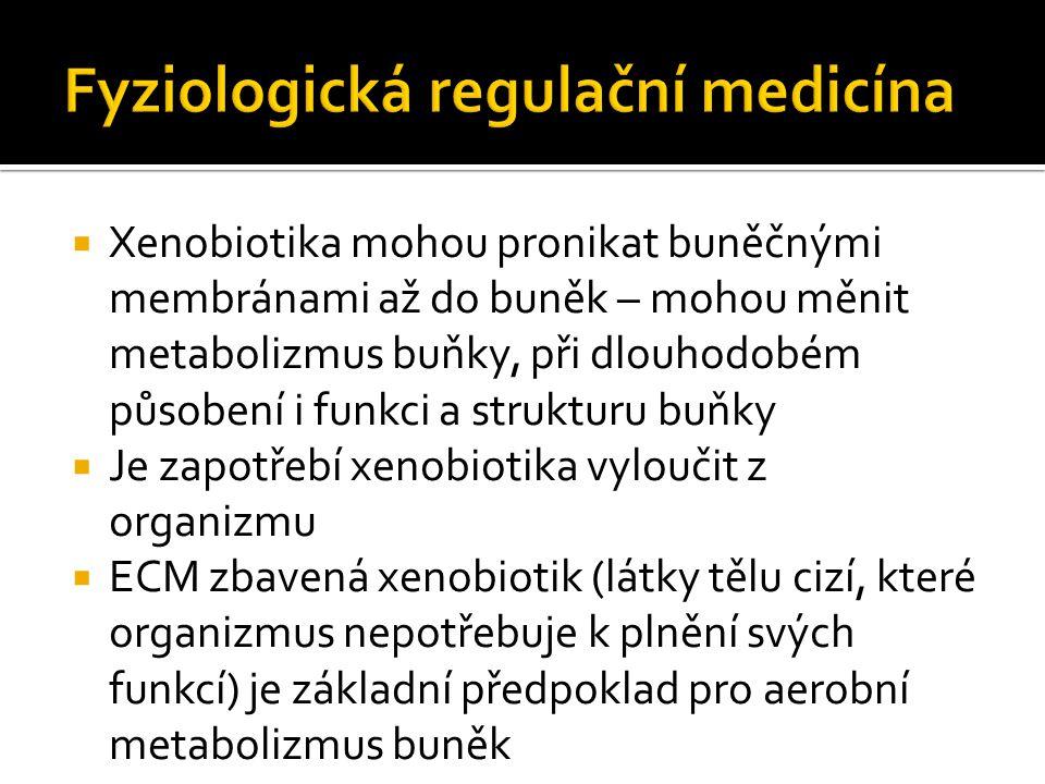  Xenobiotika mohou pronikat buněčnými membránami až do buněk – mohou měnit metabolizmus buňky, při dlouhodobém působení i funkci a strukturu buňky  Je zapotřebí xenobiotika vyloučit z organizmu  ECM zbavená xenobiotik (látky tělu cizí, které organizmus nepotřebuje k plnění svých funkcí) je základní předpoklad pro aerobní metabolizmus buněk