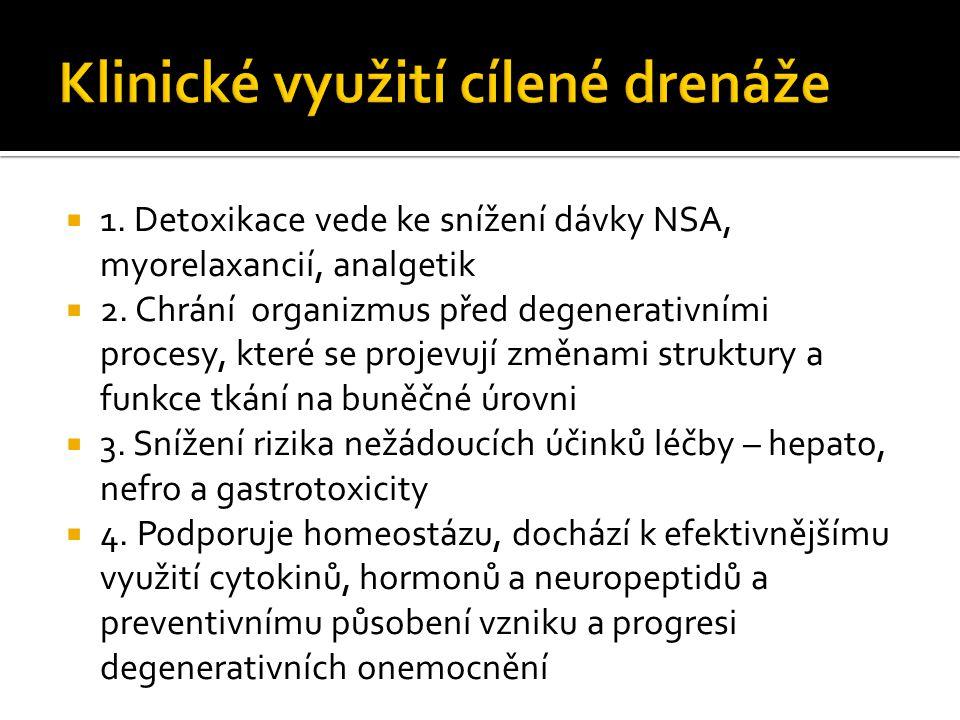  1. Detoxikace vede ke snížení dávky NSA, myorelaxancií, analgetik  2. Chrání organizmus před degenerativními procesy, které se projevují změnami st