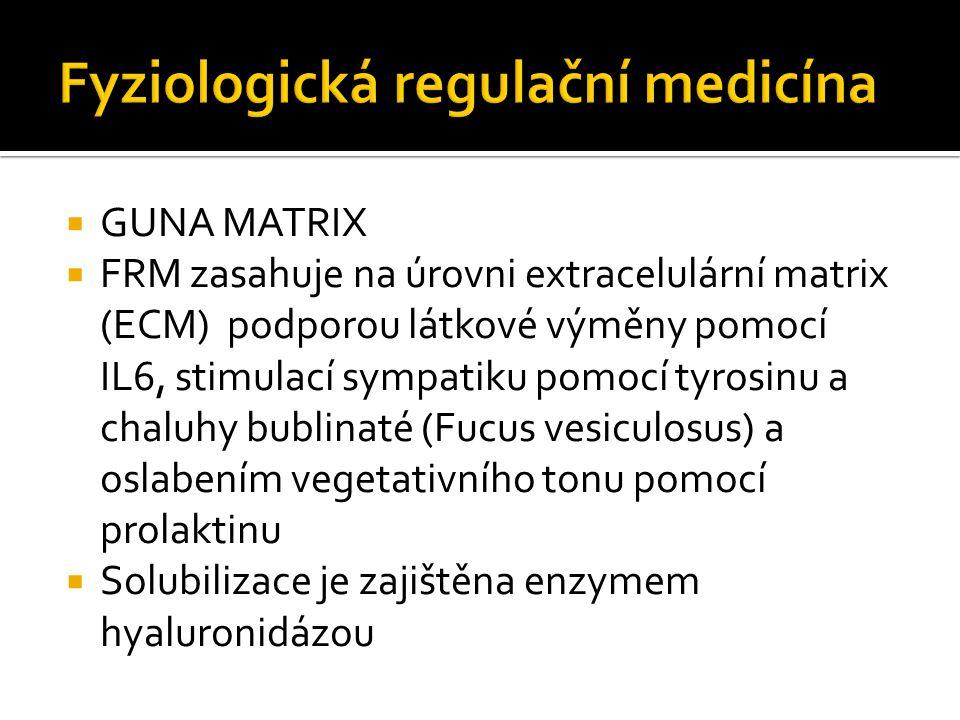  GUNA MATRIX  FRM zasahuje na úrovni extracelulární matrix (ECM) podporou látkové výměny pomocí IL6, stimulací sympatiku pomocí tyrosinu a chaluhy bublinaté (Fucus vesiculosus) a oslabením vegetativního tonu pomocí prolaktinu  Solubilizace je zajištěna enzymem hyaluronidázou