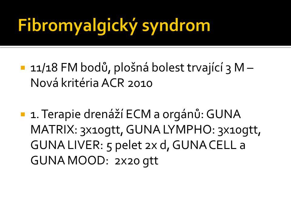  11/18 FM bodů, plošná bolest trvající 3 M – Nová kritéria ACR 2010  1. Terapie drenáží ECM a orgánů: GUNA MATRIX: 3x10gtt, GUNA LYMPHO: 3x10gtt, GU
