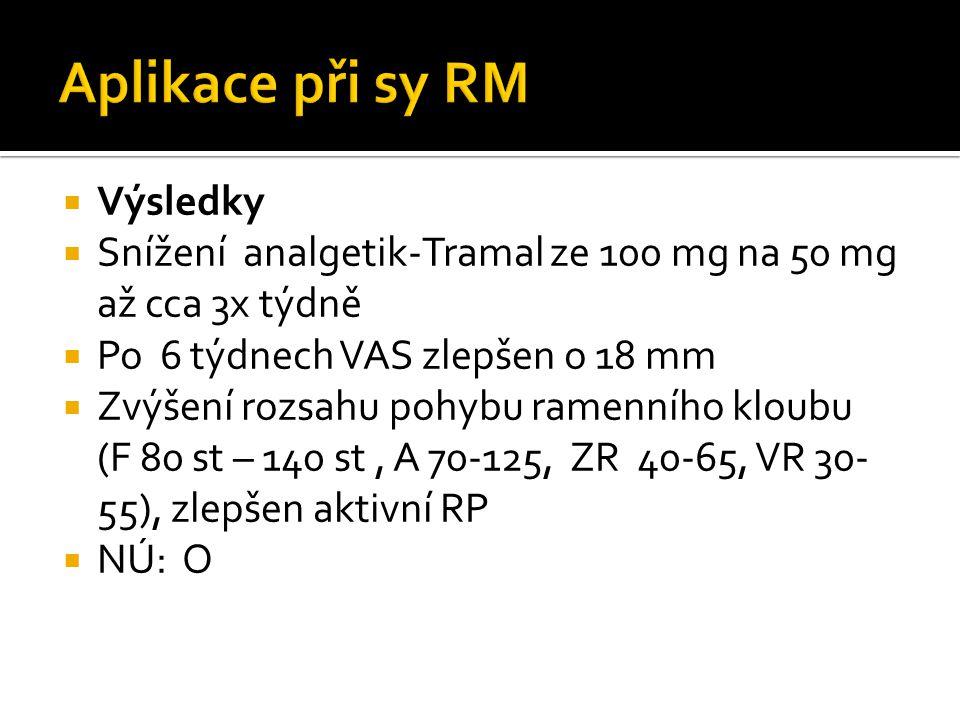  Výsledky  Snížení analgetik-Tramal ze 100 mg na 50 mg až cca 3x týdně  Po 6 týdnech VAS zlepšen o 18 mm  Zvýšení rozsahu pohybu ramenního kloubu (F 80 st – 140 st, A 70-125, ZR 40-65, VR 30- 55), zlepšen aktivní RP  NÚ: O