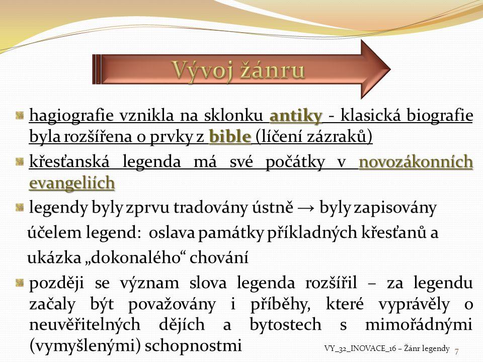 antiky bible hagiografie vznikla na sklonku antiky - klasická biografie byla rozšířena o prvky z bible (líčení zázraků) novozákonních evangeliích křes