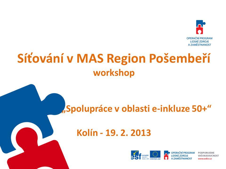 """Síťování v MAS Region Pošembeří workshop """"Spolupráce v oblasti e-inkluze 50+"""" Kolín - 19. 2. 2013"""