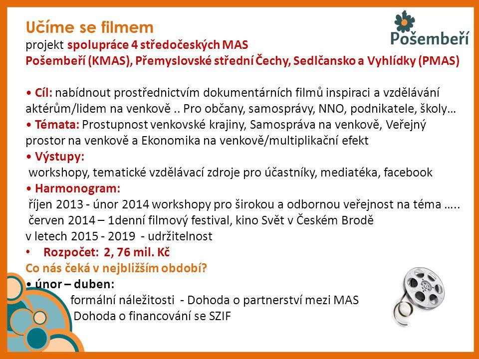 Učíme se filmem projekt spolupráce 4 středočeských MAS Pošembeří (KMAS), Přemyslovské střední Čechy, Sedlčansko a Vyhlídky (PMAS) Cíl: nabídnout prost