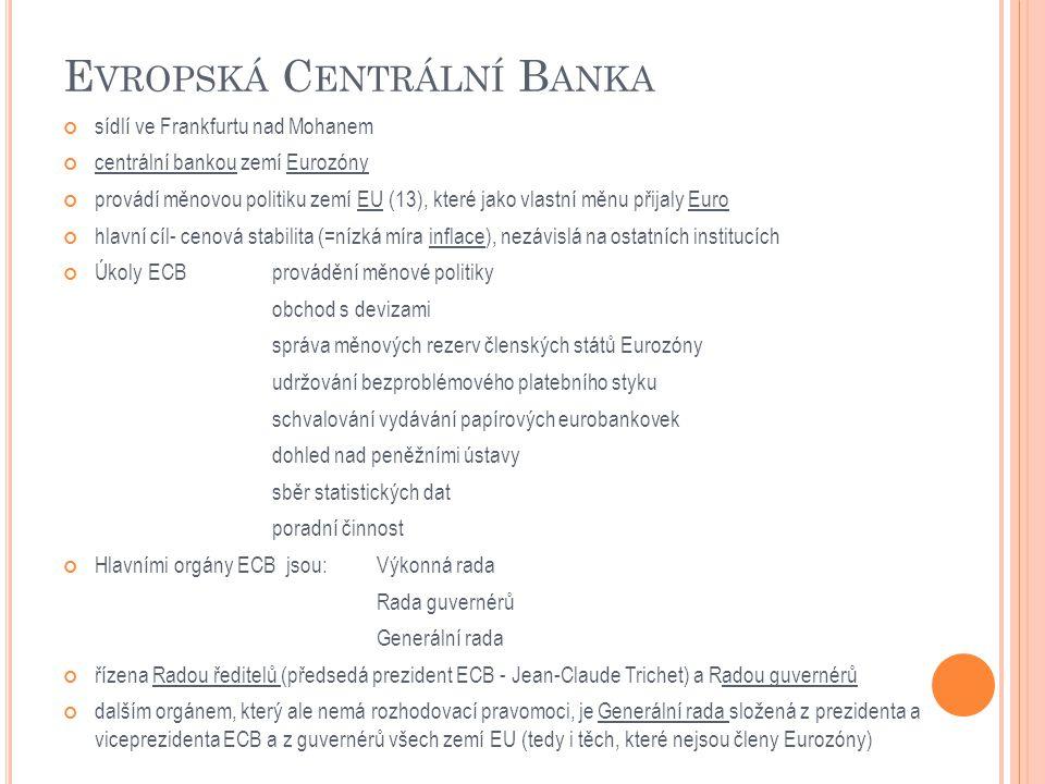 E VROPSKÁ C ENTRÁLNÍ B ANKA sídlí ve Frankfurtu nad Mohanem centrální bankou zemí Eurozóny provádí měnovou politiku zemí EU (13), které jako vlastní měnu přijaly Euro hlavní cíl- cenová stabilita (=nízká míra inflace), nezávislá na ostatních institucích Úkoly ECBprovádění měnové politiky obchod s devizami správa měnových rezerv členských států Eurozóny udržování bezproblémového platebního styku schvalování vydávání papírových eurobankovek dohled nad peněžními ústavy sběr statistických dat poradní činnost Hlavními orgány ECB jsou: Výkonná rada Rada guvernérů Generální rada řízena Radou ředitelů (předsedá prezident ECB - Jean-Claude Trichet) a Radou guvernérů dalším orgánem, který ale nemá rozhodovací pravomoci, je Generální rada složená z prezidenta a viceprezidenta ECB a z guvernérů všech zemí EU (tedy i těch, které nejsou členy Eurozóny)