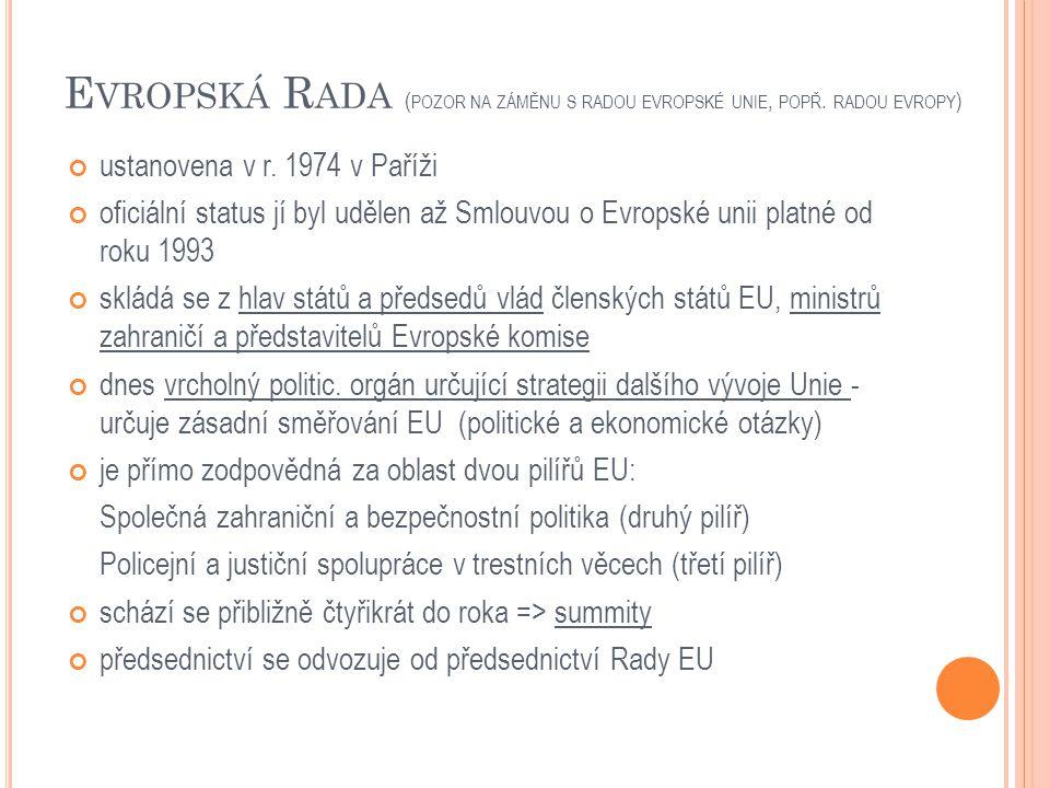 E VROPSKÁ R ADA ( POZOR NA ZÁMĚNU S RADOU EVROPSKÉ UNIE, POPŘ. RADOU EVROPY ) ustanovena v r. 1974 v Paříži oficiální status jí byl udělen až Smlouvou