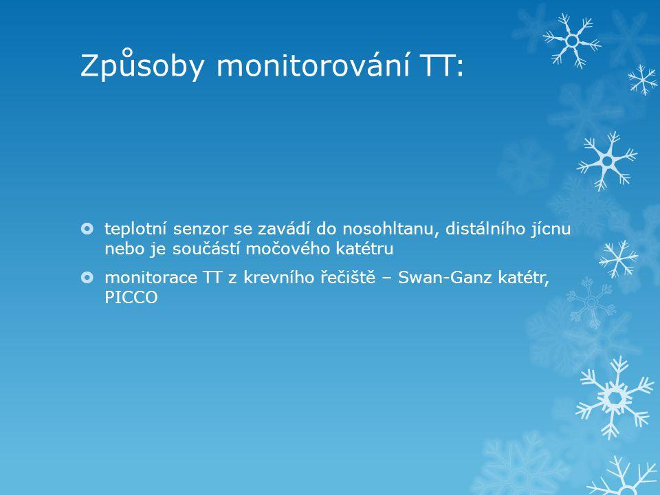 Způsoby monitorování TT:  teplotní senzor se zavádí do nosohltanu, distálního jícnu nebo je součástí močového katétru  monitorace TT z krevního řeči