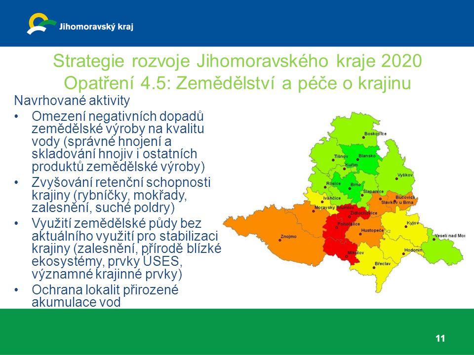 Strategie rozvoje Jihomoravského kraje 2020 Opatření 4.5: Zemědělství a péče o krajinu 11 Navrhované aktivity Omezení negativních dopadů zemědělské vý