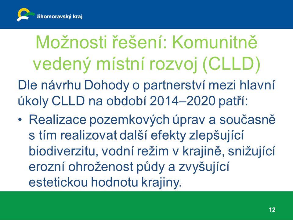 Možnosti řešení: Komunitně vedený místní rozvoj (CLLD) Dle návrhu Dohody o partnerství mezi hlavní úkoly CLLD na období 2014–2020 patří: Realizace poz