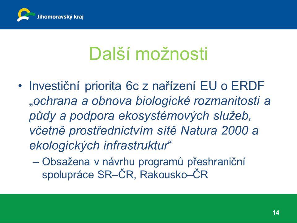"""Další možnosti Investiční priorita 6c z nařízení EU o ERDF """"ochrana a obnova biologické rozmanitosti a půdy a podpora ekosystémových služeb, včetně pr"""