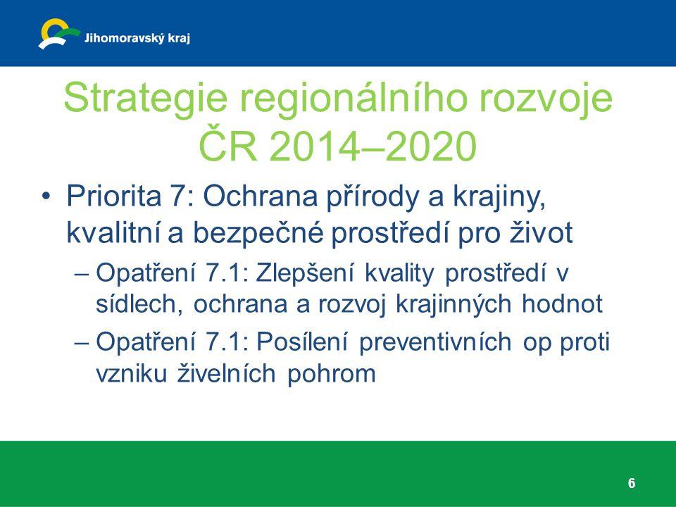 Strategie regionálního rozvoje ČR 2014–2020 Priorita 7: Ochrana přírody a krajiny, kvalitní a bezpečné prostředí pro život –Opatření 7.1: Zlepšení kva