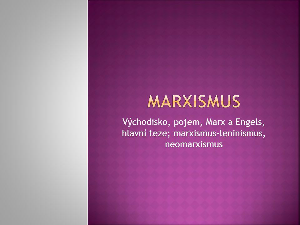 Východisko, pojem, Marx a Engels, hlavní teze; marxismus-leninismus, neomarxismus