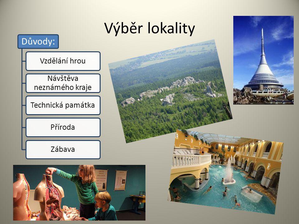 Výběr lokality Důvody : Vzdělání hrou Návštěva neznámého kraje Technická památkaPřírodaZábava