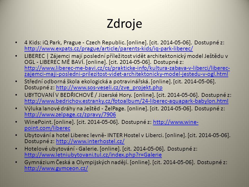Zdroje 4 Kids: iQ Park, Prague - Czech Republic. [online]. [cit. 2014-05-06]. Dostupné z: http://www.expats.cz/prague/article/parents-kids/iq-park-lib