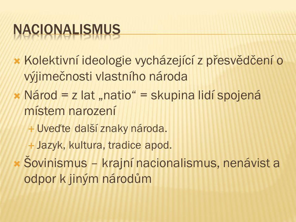 """ Kolektivní ideologie vycházející z přesvědčení o výjimečnosti vlastního národa  Národ = z lat """"natio = skupina lidí spojená místem narození  Uveďte další znaky národa."""