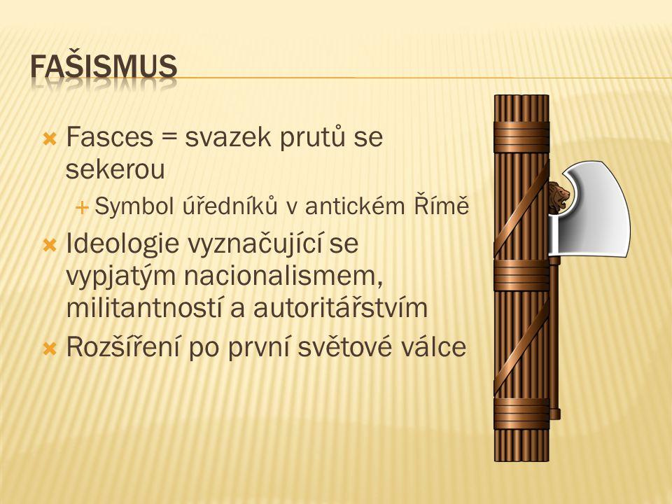  Fasces = svazek prutů se sekerou  Symbol úředníků v antickém Římě  Ideologie vyznačující se vypjatým nacionalismem, militantností a autoritářstvím  Rozšíření po první světové válce