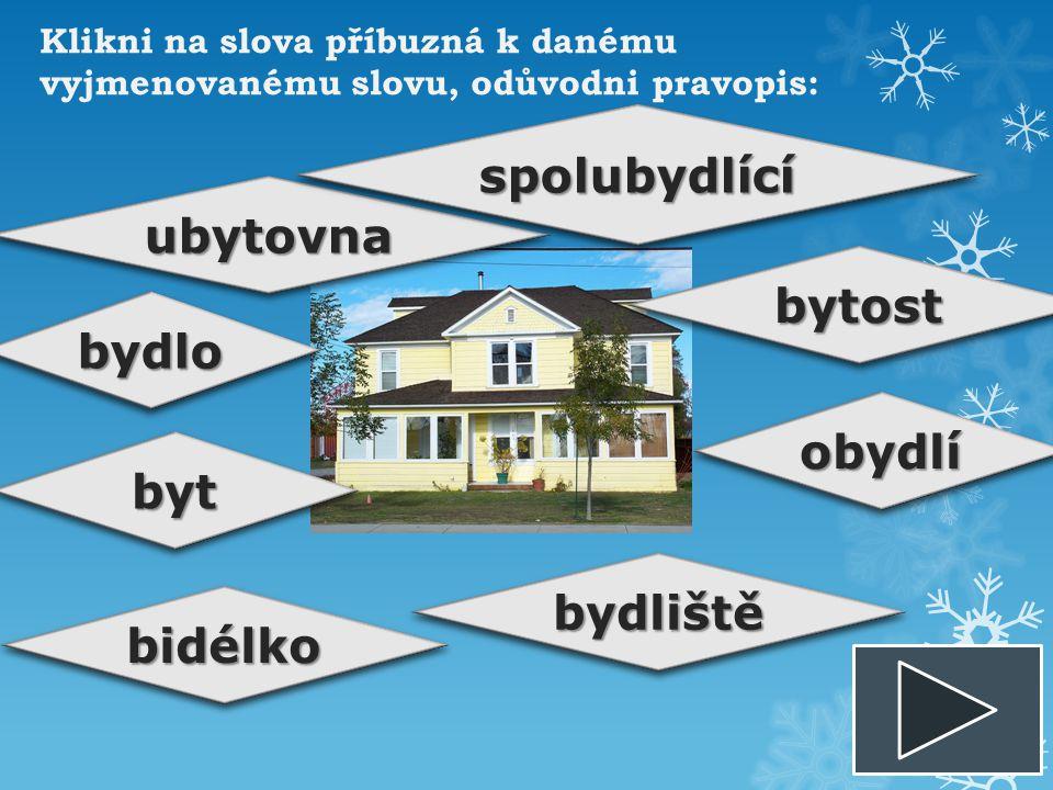 bydlobydlo ubytovnaubytovna bytbyt bytostbytost obydlíobydlí bidélkobidélko bydlištěbydliště spolubydlícíspolubydlící
