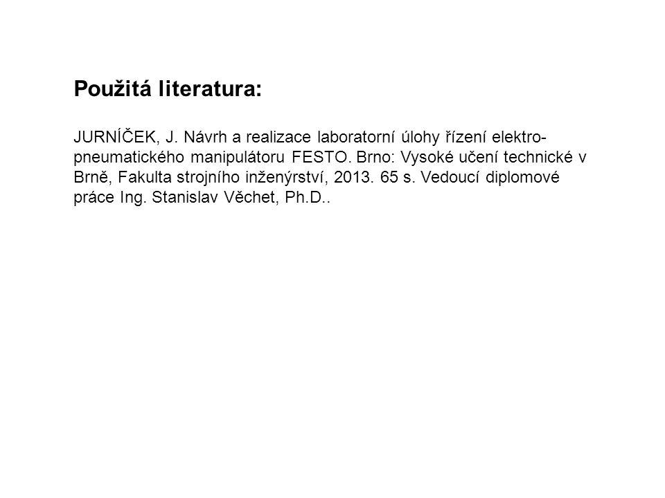 JURNÍČEK, J. Návrh a realizace laboratorní úlohy řízení elektro- pneumatického manipulátoru FESTO. Brno: Vysoké učení technické v Brně, Fakulta strojn