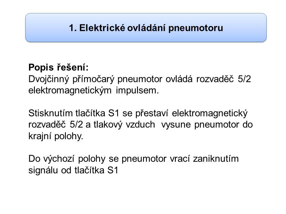 1. Elektrické ovládání pneumotoru Popis řešení: Dvojčinný přímočarý pneumotor ovládá rozvaděč 5/2 elektromagnetickým impulsem. Stisknutím tlačítka S1