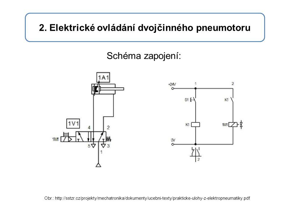 2. Elektrické ovládání dvojčinného pneumotoru Schéma zapojení: Obr.: http://sstzr.cz/projekty/mechatronika/dokumenty/ucebni-texty/prakticke-ulohy-z-el