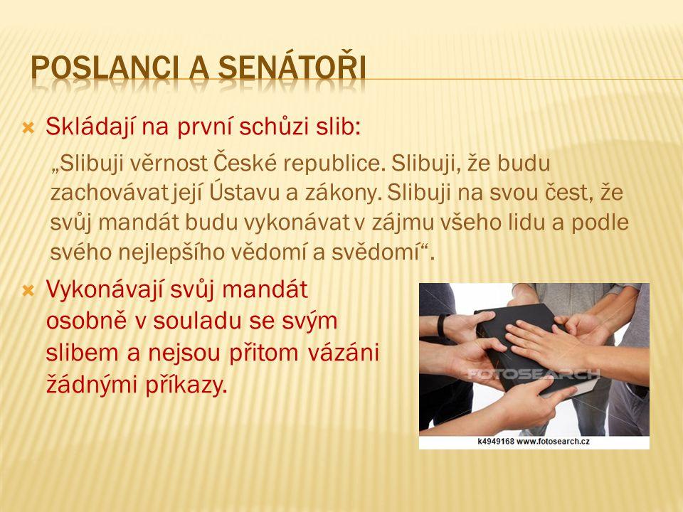 """ Skládají na první schůzi slib: """"Slibuji věrnost České republice."""