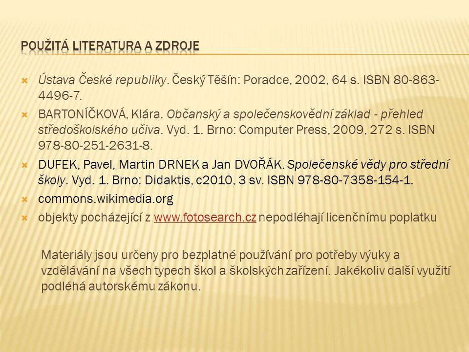  Ústava České republiky. Český Těšín: Poradce, 2002, 64 s.