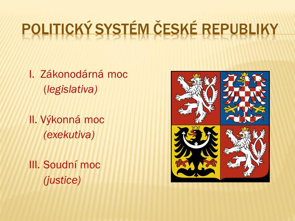 I. Zákonodárná moc (legislativa) II. Výkonná moc (exekutiva) III. Soudní moc (justice)