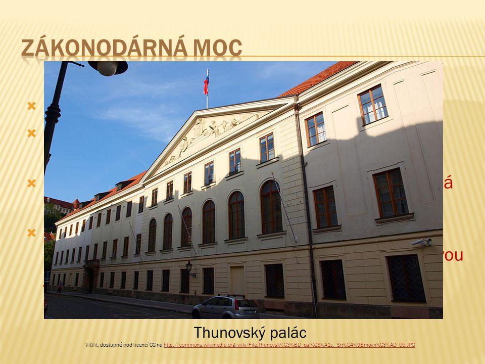  zákonodárná moc náleží Parlamentu;  český Parlament je dvoukomorový – tvoří ho Poslanecká sněmovna a Senát;  vztah mezi komorami je nerovný – silnější pozici má Poslanecká sněmovna;  Poslanecká sněmovna má své sídlo v několika historických palácích na Malé Straně; hlavní budovou je Thunovský palác.