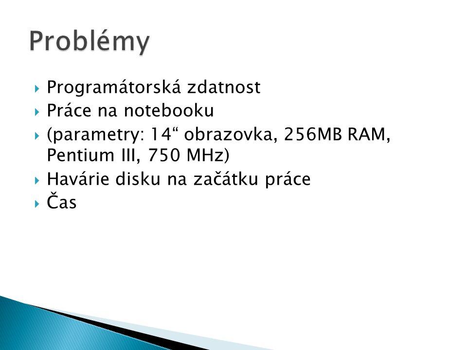  Programátorská zdatnost  Práce na notebooku  (parametry: 14 obrazovka, 256MB RAM, Pentium III, 750 MHz)  Havárie disku na začátku práce  Čas