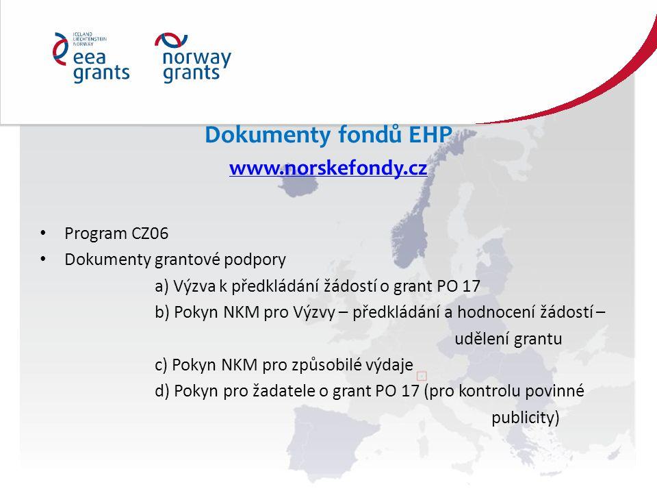 Dokumenty fondů EHP www.norskefondy.cz Program CZ06 Dokumenty grantové podpory a) Výzva k předkládání žádostí o grant PO 17 b) Pokyn NKM pro Výzvy – předkládání a hodnocení žádostí – udělení grantu c) Pokyn NKM pro způsobilé výdaje d) Pokyn pro žadatele o grant PO 17 (pro kontrolu povinné publicity)