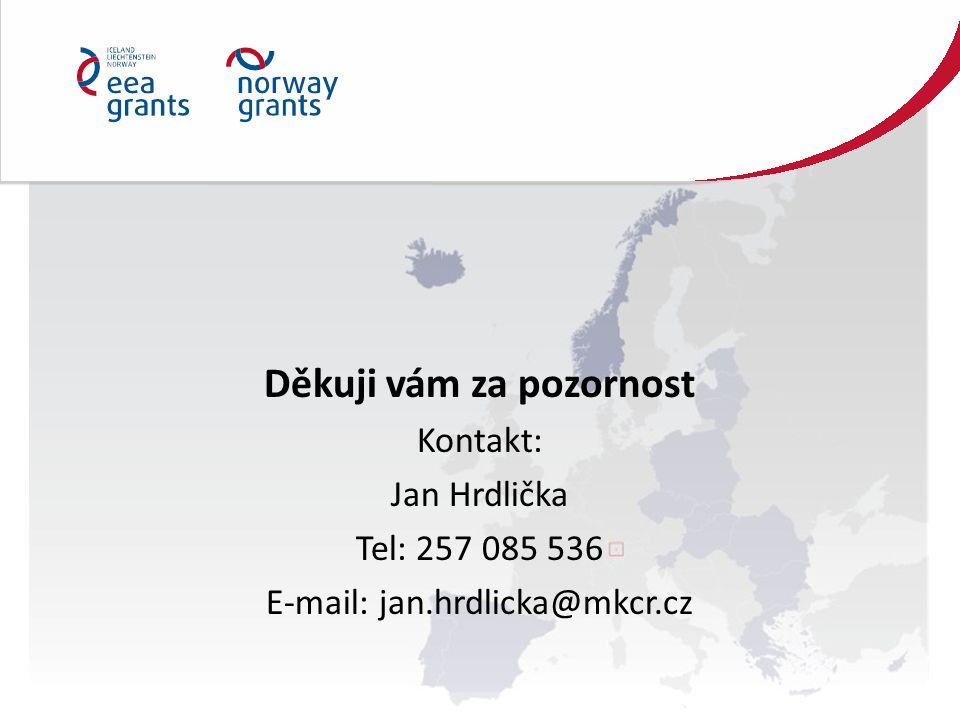 Děkuji vám za pozornost Kontakt: Jan Hrdlička Tel: 257 085 536 E-mail: jan.hrdlicka@mkcr.cz